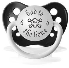 Bad to the Bone Binky-pacifier,binky,baby,gift,shower,rock,star, dad, boy, personalized pacifiers