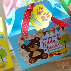 Personalised Children's Teddy Bears Picnic Party Bag Box Lunch Activity Stationary by OrangePaperDuck on Etsy https://www.etsy.com/uk/listing/470346817/personalised-childrens-teddy-bears