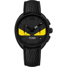 Fendi Bug Chronograph Leather Strap Watch, 40Mm (£1,145) ❤ liked on Polyvore featuring jewelry, watches, fendi jewelry, chronograph watch, fendi watches, fendi and chronograph watches