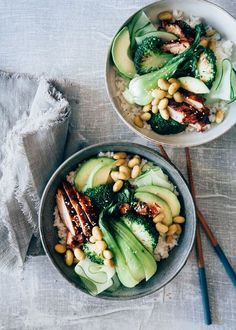 Teriyaki Chicken Sushi Bowl - Aus Paulines Küche - Famous Last Words Healthy Food List, Healthy Breakfast Recipes, Easy Healthy Recipes, Healthy Eating, Dinner Healthy, Quinoa, Clean Eating, Food Charts, Food Bowl