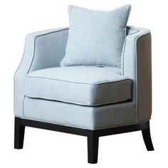 Check out this item at One Kings Lane! Laura Linen Corner Chair, Light Blue