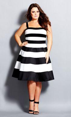 City Chic - MONO STRIPES DRESS - Women's Plus Size Fashion