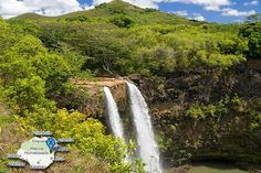Wailua Falls offers drive by viewing for the water fall connoisseur.