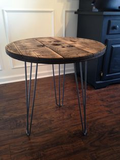 """Side table: top of dad's old spool table paired with 24"""" 3-bar hairpin legs from Amazon"""