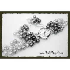 Perle din sticla argintiu inchis, diametrul 8 mm, cant 20 buc.