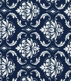 Quilter's Showcase Cotton Fabric-Damask Navy & White