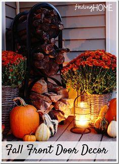 a fall front door makeover, doors, seasonal holiday decor Front Door Makeover, Front Door Decor, Wood Pumpkins, Fall Pumpkins, Autumn Decorating, Porch Decorating, Decorating Ideas, Fall Home Decor, Holiday Decor
