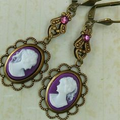New in our etsy shop: Cameo earrings in purple bronze