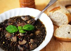Lentil soup with mushrooms and lemon