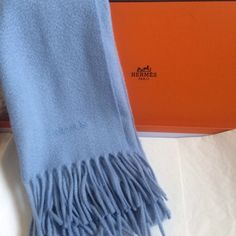 "❤️HERMES 100% CASHMERE SCARF❤️ Gorgeous sky blue (as I  see it) 100% cashmere scarf by HERMES. Absolute luxury! Measures approx. 60"" inches long and 17.5"" wide. Excellent condition. Hermes Accessories Scarves & Wraps"