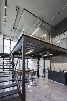 Warehouse Office, Warehouse Living, Warehouse Design, Loft Office, Warehouse Plan, Office Space Design, Modern Office Design, Industrial Interior Design, Industrial House