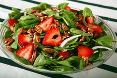 Spinach Salad with Walnuts and Strawberries - uses spinach, walnuts,  strawberries, balsamic vinegar,  feta cheese