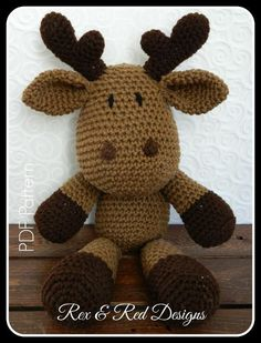 Looking for your next project? You're going to love Crochet Moose Amigurumi Toy Pattern by designer rexandreddesign.