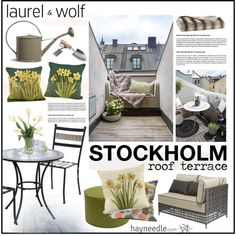 Stockholm Roof Terrace by szaboesz on Polyvore featuring interior, interiors, interior design, home, home decor, interior decorating, Williams-Sonoma, Zuo Modern, DENY Designs and Distinctive Designs