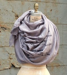 Cotton Gauze Poetry Print Scarf by Artlab on Scoutmob
