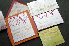 Hot Pink Orange and Lime Green Invites Modern by JulieHananDesign