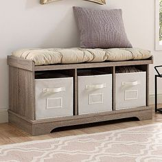 Better Homes and Gardens Organizer Storage Bench, Multiple Finishes – Wal… Storage Bench With Cushion, Entryway Bench Storage, Bedroom Storage, Diy Storage, Storage Spaces, Storage Benches, Entryway Ideas, Storage Ideas, Indoor Storage Bench