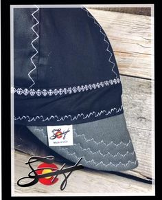 Specializing in Unique, One of a kind Custom Welding Caps Made in USA Custom Welding Caps, Welding Hats, Patchwork Jeans, Hat Making, Drawstring Backpack, Black And White, Sewing, Canvas, Grey
