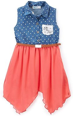01fef33562e Take a look at this Coral Chiffon   Denim Handkerchief Dress - Girls today!