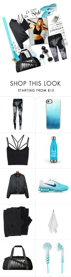"""Weight Training: Strappy Bralette + Graphic Leggings"" by random11-1 ❤ liked on Polyvore featuring The Upside, Casetify, Sweaty Betty, NIKE, ESPRIT and gymessentials"
