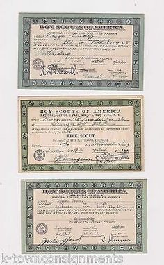 BOY SCOUTS OF AMERICA VINTAGE SEAMAN LIFE SCOUT CERTIFICATION CARDS 1938 - 1941