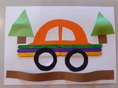 Auto - lepenie drevených paličiek, farebného papiera.