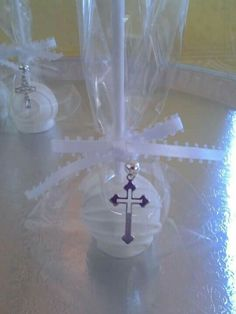 Pure white cake pops w/ cross charms for baptisms, First Communions & Confirmations