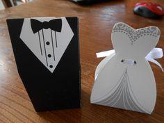 lot de 60 boites dragées dont 30 costumes marié et 30 robes mariée : Décoration de table par anne60620