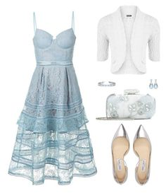 """""""Untitled #498"""" by myxvonwh ❤ liked on Polyvore featuring self-portrait, WearAll, Jimmy Choo, Oscar de la Renta, Forevermark and Allurez"""