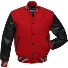 Red Wool and Black Leather Letterman Jacket - C113 ($199) ❤ liked on Polyvore featuring outerwear, jackets, letter jacket, varsity letter jackets, letterman jacket, leather jackets and red jacket