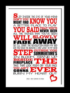 A3 Oasis Dont look back in anger   Print by RTprintdesigns on Etsy, £11.99