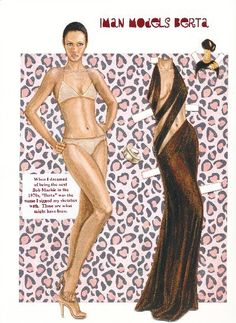 I had this notion in high school that I could be the next Bob Mackie and design slinky gowns for the likes of Cher.  I did all kinds of sketches, which I saved, and are the basis for this paper doll.  What might have been?...  4 page set, $25. To see more, click here  http://www.fancyephemera.com/contemporaryfashion.html#IMANBERTA