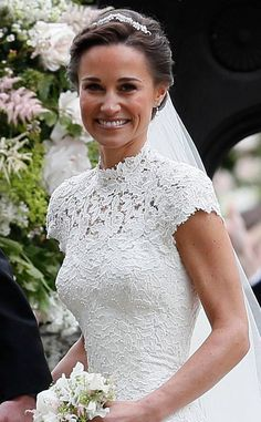 Pippa Middleton on her wedding day (May Pippa's 'Maidenhair Fern Tiara' with matching headpiece was hand made by Robinson Pelham. Her earrings are the Robinson Pelham diamond drop earrings originally commissioned for the royal wedding in Looks Kate Middleton, Pippa Middleton Wedding, Pippa Middleton Style, Middleton Family, Pippas Wedding, Wedding Robe, Wedding Styles, Wedding Gowns, Wedding Church
