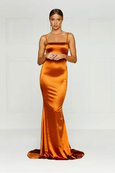 Delara - Emerald Satin Mermaid Gown with Straight Neckline & Low Back Orange Gown, Orange Prom Dresses, Grad Dresses, Satin Dresses, Evening Dresses, Bridesmaid Dresses, Formal Dresses, Sequin Gown, Embellished Gown