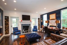 Family Room Blue Accent Wall Design Ideas, Pictures, Remodel, and Decor - page 2