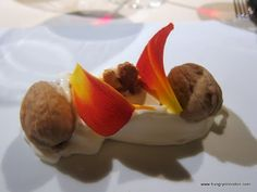 Broken Walnut, tasted and salted, cool milk cream and armagnac jelly - Mugaritz