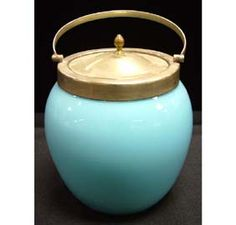 English Blue Glass Biscuit Jar