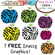 FREE Zebra Print Apple Clip Art!!