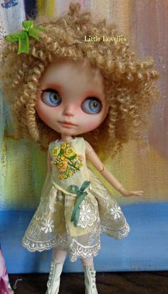 "BLYTHE or Pullip DOLL Dress - OOAK -  ""Primrose"" - vintage linen, pure shot silk and luxurious wedding lace by Little Lovelies, $85.00 AUD"