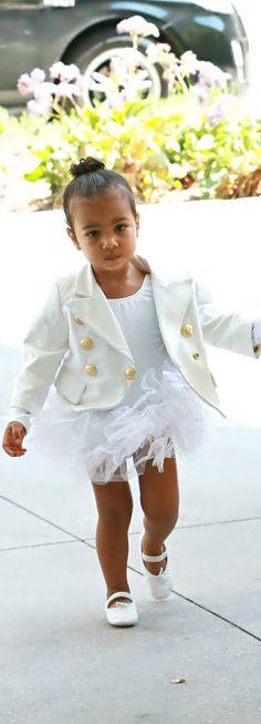 White Balmain Blazer and tutu Little Girl Fashion, Boy Fashion, Beautiful Children, Beautiful Babies, Celebrity Moms, Baby Boutique, Fashion Addict, Cute Kids, Kim Kardashian