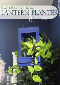 The project I am showing you today is one of those projects! In less than 15 minutes and with some very minor handiwork you can have a hanging lantern planter for your beautiful plants. Indoor Planters, Hanging Planters, Indoor Gardening, Garden Lanterns, Creation Deco, Garden Inspiration, Garden Ideas, Diy Craft Projects, Outdoor Gardens