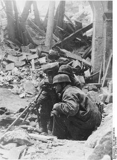A German mortar crew, photo presumed taken in the ruins of the Abbey