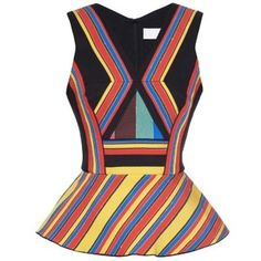 Peter Pilotto Hendrix multi-striped peplum top