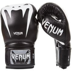 Venum Giant Nappa Leather Hook and Loop Boxing Gloves - 12 oz. - Black/White, Size: One size Martial Arts Gear, Combat Sport, Training Equipment, Mma Equipment, Boxing Gloves, Kickboxing, Muay Thai, Thailand, Shopping