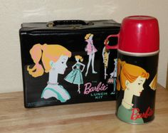 1962 The Barbie Lunch Kit Lovely black vinyl lunch box and thermos Near Mint