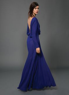 Draped Front Long Sleeve Open Back Gown with Beaded Lace Inset in Sapphire/Black | Tadashi Shoji