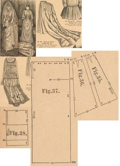 Der Bazar 1889: Atlas bridal gown; 35. and 36. skirt's front gores, 37. train part (add 8 cm wide lace balayeuse), 38. tournure back breadth (insert two 35 and 40 cm long steel hoops and a bustlepad)