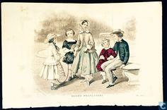 Prenten / grafiek - A. Boilly - Cinq enfants au jardin - Mai 1850 http://www.catawiki.be/shops/Stinnie