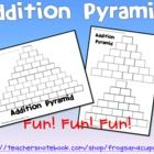 Your students will LOVE practicing addition with Addition Pyramids!! Use as math center activity, fast finishers, bell work or whole group activity...FREE!