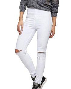 Saoye Fashion Jeans Skinny A Vita Alta Pantaloni Jeans A Vita Alta Giovane  Pantaloni con Risvolto c34b36aa8e8